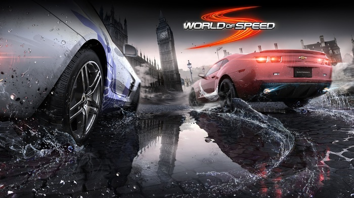World of Speed, reflection, Chevrolet Camaro SS, Mercedes, Benz SLS AMG, video games, London, car