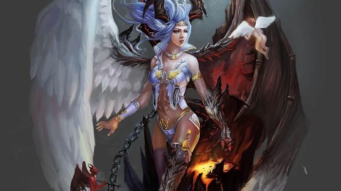 angel, artwork, fantasy art, demon