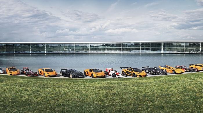 McLaren Formula 1, car, black cars, race cars, McLaren F1 GTR, mclaren mp4, 12C GT3, 12c, orange cars, multiple display, McLaren F1, vehicle, supercars, dual monitors, McLaren P1, McLaren Technology Centre, McLaren M1B