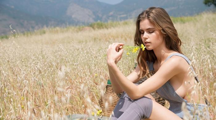 nature, girl outdoors, girl, Amberleigh West, field, model, overalls