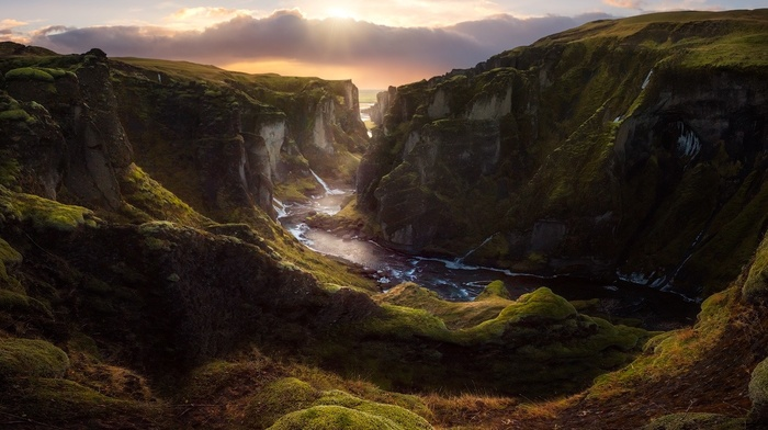 landscape, nature, clouds, sunset, Iceland, river, canyon