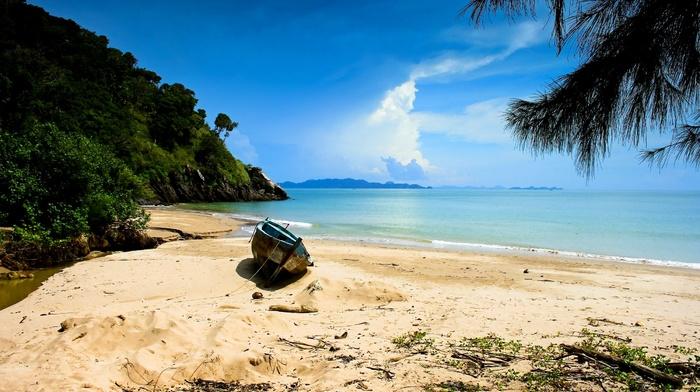 sea, trees, landscape, sand, hills, boat, Thailand, nature, shrubs, clouds, island, beach