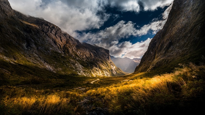 mountain pass, yellow, dirt road, mountains, nature, clouds, landscape, shrubs, sun rays, valley, sunlight