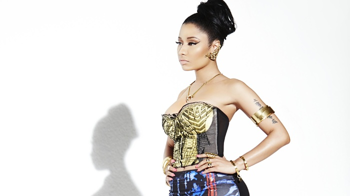 hands on hips, girl, Nicki Minaj, singer, white background