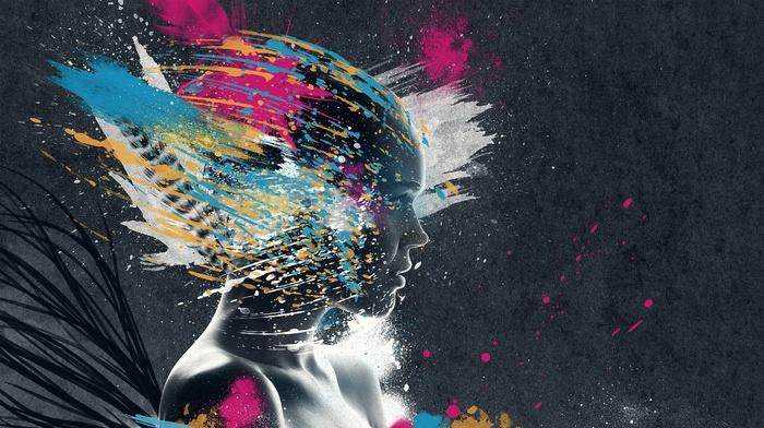 face, people, digital art, artwork, glitch art, colorful, paint splatter