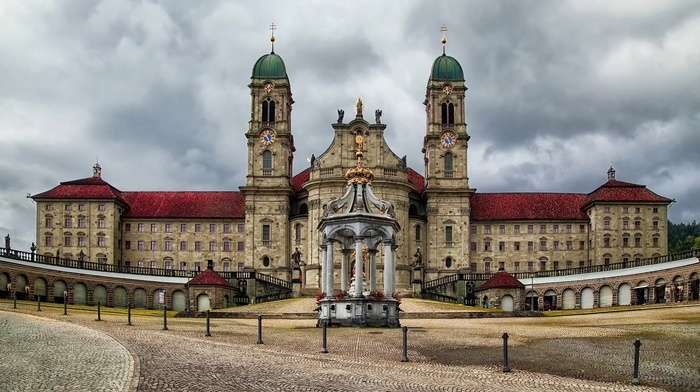 mirrored, clouds, Switzerland, sculpture, crown, clock tower, architecture, tower, arch, trees, building, Einsiedeln, Christianity, castle