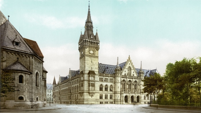 city, trees, empty, Braunschweig, Germany, history, old photos, architecture, town square, castle, building, church, clouds, colorized photos, old, tower