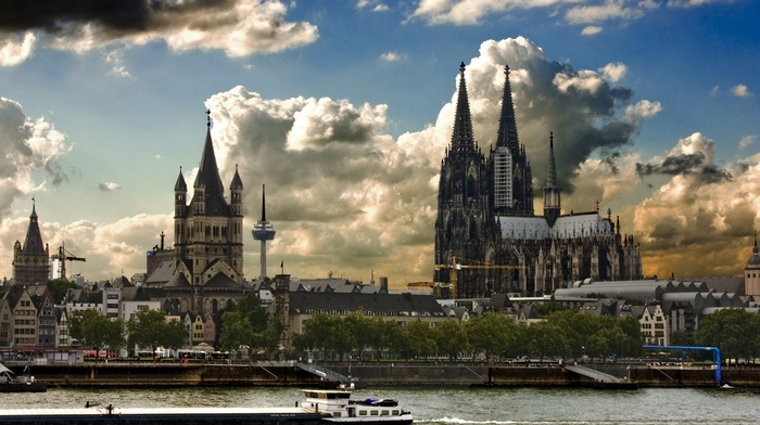 tower, house, building, Cologne, Germany, ship, river, cityscape, architecture, Cologne Cathedral, cranes machine, trees, city, castle, clouds, antenna