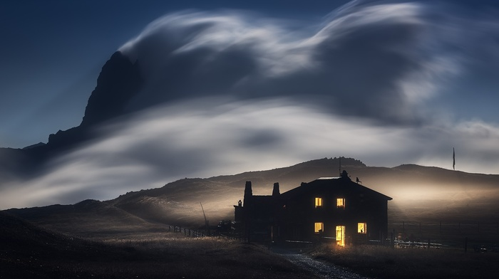landscape, nature, mountains, sky, long exposure, field, lights, clouds, house, evening, wind