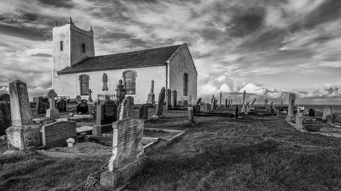 architecture, England, clouds, cemetery, old, grave, UK, grass, church, monochrome, HDR, cross
