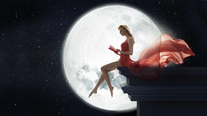 rooftops, model, sitting, girl outdoors, books, red dress, girl, barefoot, moonlight, windy, legs, photo manipulation, stars, moon, long hair, blonde, reading