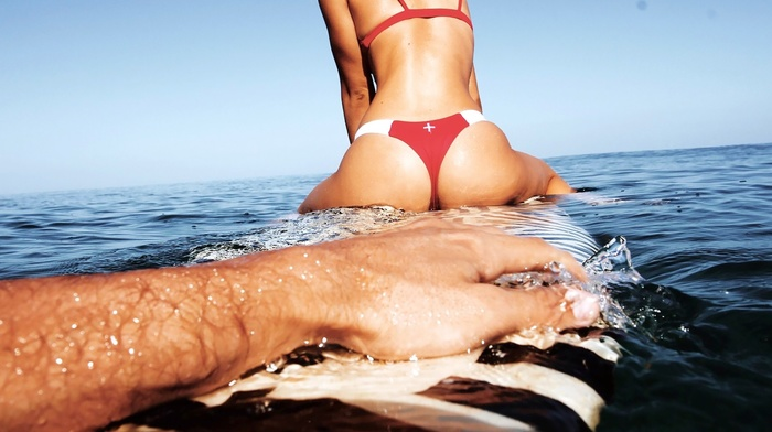 surfboards, ass, Alexis Ren, wet, bikini, surfing, model