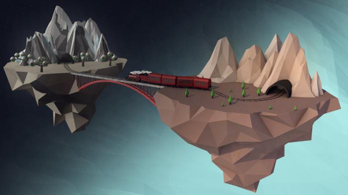 3D, island, digital art, Cinema 4D, floating, train, mountains, low poly