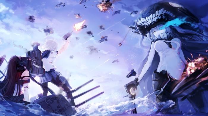 Kantai Collection, big boobs, explosion, anime, Yamato KanColle, Wo, Class Aircraft Carrier, Hamakaze KanColle, anime girls, battle