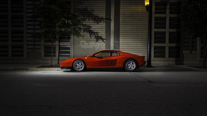 garages, Ferrari Testarossa, lights, spotlights, night, trees, legend, car, vintage, street, Ferrari, sports car, red cars, urban