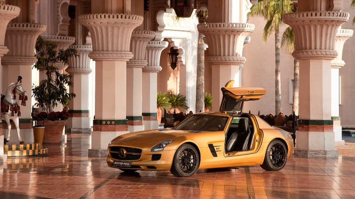 Mercedes, Benz SLS AMG, mercedes sls, Mercedes, benz, car, column, Dubai, horse, sports car