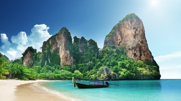 sea, clouds, nature, Thailand, sand, mountains, boat, forest, house, rock, palm trees, landscape, beach, trees