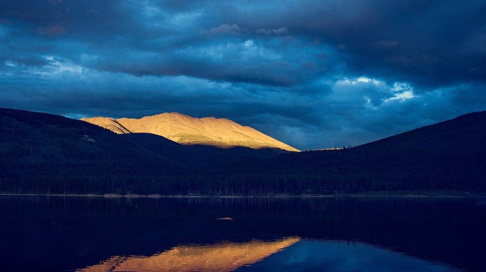 evening, lake, trees, nature, hills, clouds, forest, water, reflection, mountains, landscape, pine trees