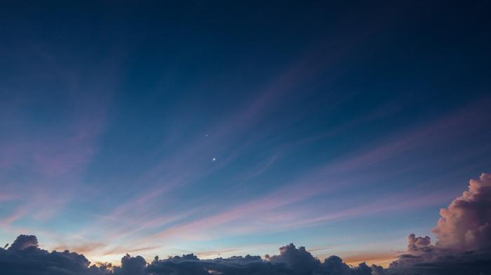 sky, stars, clouds