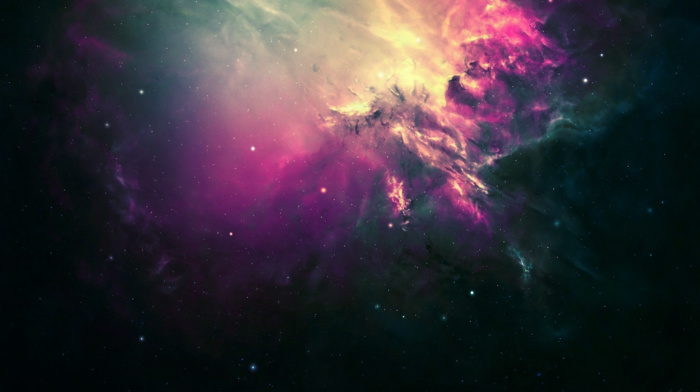 space, nebula, stars, color correction, digital art