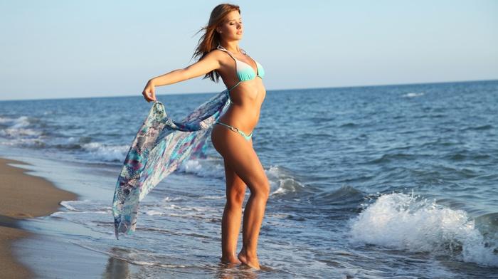 girl, bikini, closed eyes, girl outdoors, beach, sunset, anna tatu, brunette