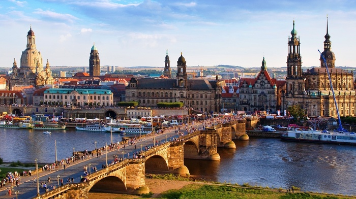 Germany, water, old bridge, old building, bridge, church, Portugal, clouds, cathedral, cityscape, Helena Coelho, tower, ship, crowds, building, trees, city, river, architecture, Dresden