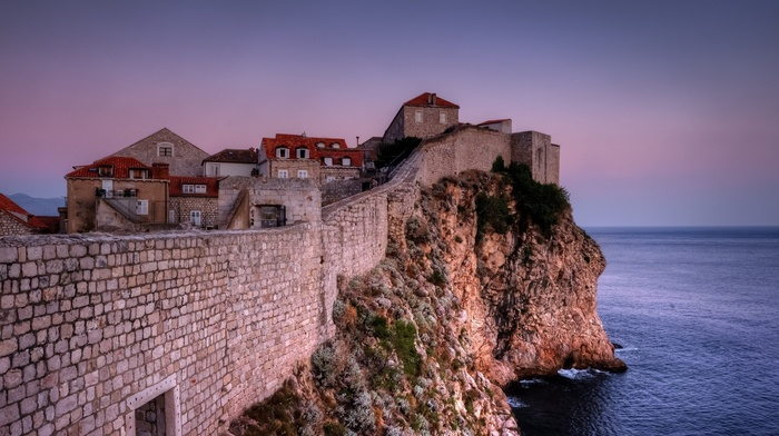 horizon, architecture, Croatia, evening, wall, stones, Dubrovnik, old, town, cliff, old building, rock, house, sea, moon, stone house