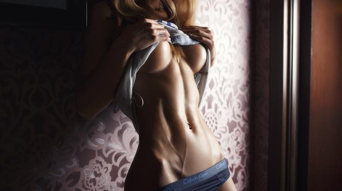 lingerie, blonde, boobs, photography, girl, Sveta Grashchenkova, no bra, skinny, fitness model, veins, strategic covering, underboob, holding boobs, Ura Pechen, black panties, navels, Calvin Klein