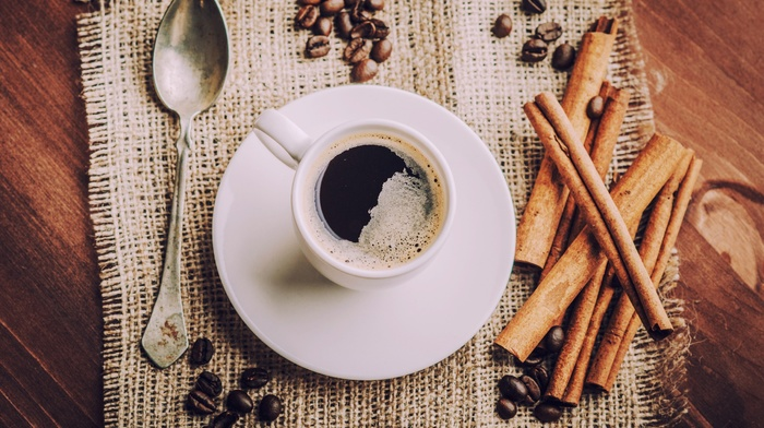 cinnamon, coffee, cup, coffee beans, spoons, food