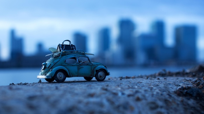 macro, car, toys, Volkswagen Beetle, depth of field
