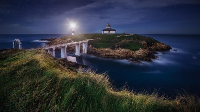nature, starry night, lighthouse, sea, Spain, grass, bridge, landscape, island, clouds