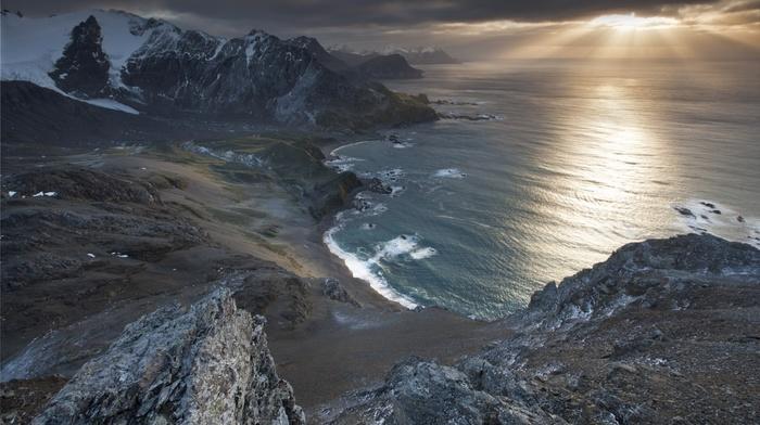South Georgia Island, snowy peak, sea, beach, landscape, sunset, mountains, coast, bay, nature, UK, sun rays