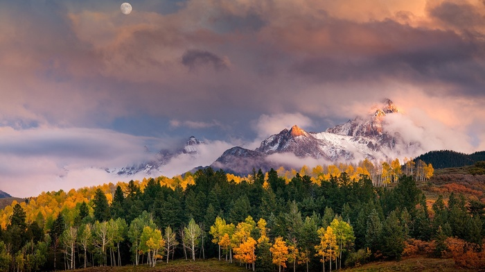 sunlight, snowy peak, clouds, moon, forest, fall, Colorado, landscape, mountains, trees, nature