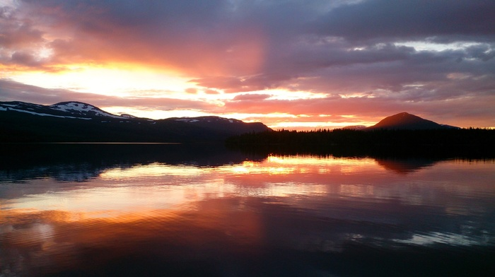mountains, nature, warm colors, summer, reflection, water, Sweden