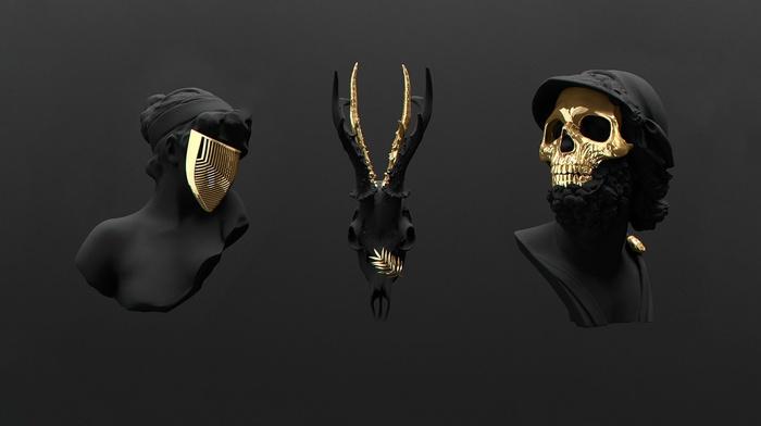 gold, skull