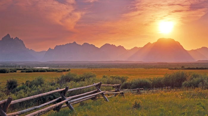 nature, fence, landscape, mountains, field, water, river, grass, photography, plants, sunset