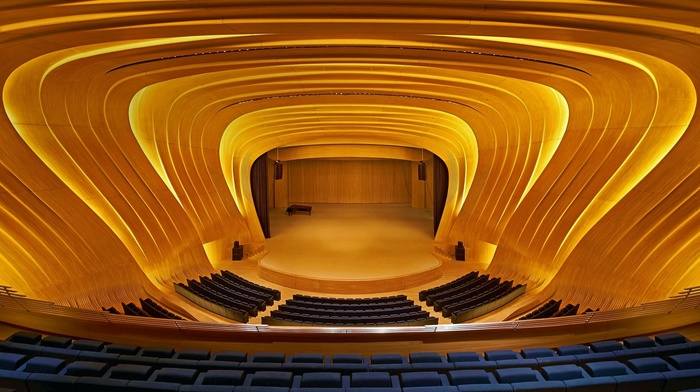 lights, modern, concert hall, piano, wooden surface, Azerbaijan, stages, interior, symmetry, podiums, Baku, chair