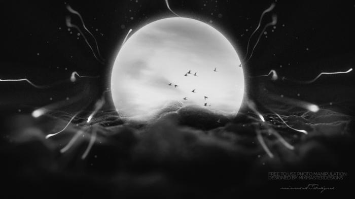 moon, photo manipulation, graphic design, IT design, space art