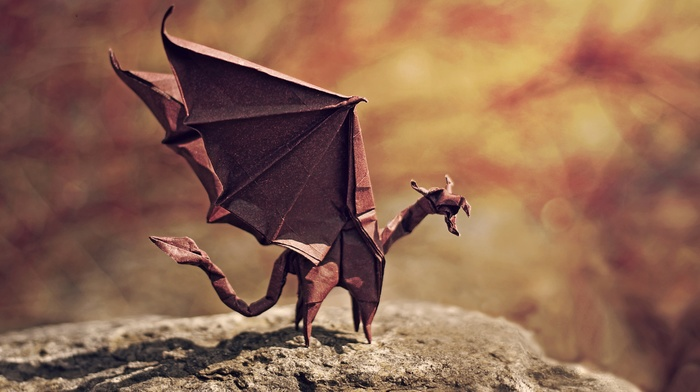 artwork, paper, depth of field, tail, dragon, origami, miniatures, nature, stone, shadow, wings