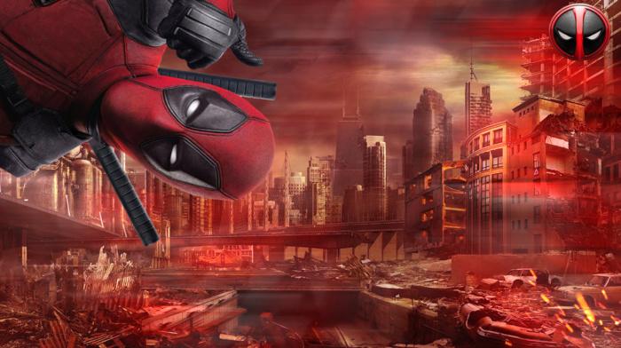 city, Marvel Comics, Deadpool Family, Deadpool Corps, sword, Deadpool