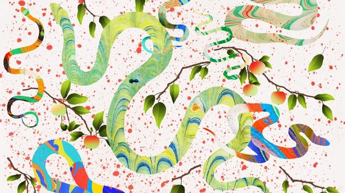 apples, leaves, artwork, colorful, abstract, snake, fruit, animals, branch, digital art, white background, paint splatter
