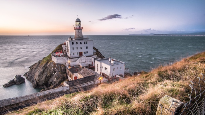 grass, coast, lights, landscape, hills, Ireland, water, waves, mountains, building, nature, clouds, ship, rock, road, architecture, sea, lighthouse, fence, horizon