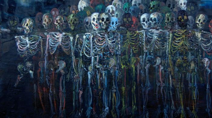 artwork, skull, skeleton, bones, digital art, painting, creepy, ribs