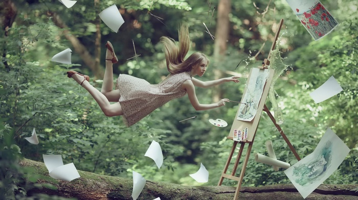 easel, floating, fantasy art, windy, blonde, model, paper, painting, tree trunk, girl
