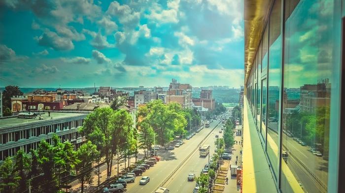 city, cityscape, building, clouds