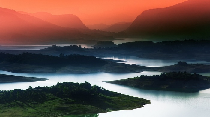 nature, sky, green, mountains, field, trees, landscape, blue, Bosnia and Herzegovina, lake, mist, red, water