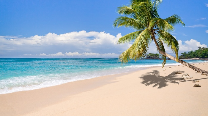 clouds, beach, sand, landscape, tropical, summer, nature, palm trees, Madagascar, sea, island