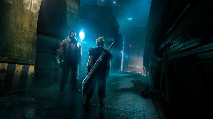 Final Fantasy, science fiction, fantasy art, Cloud Strife, Barret Wallace, artwork, Final Fantasy VII