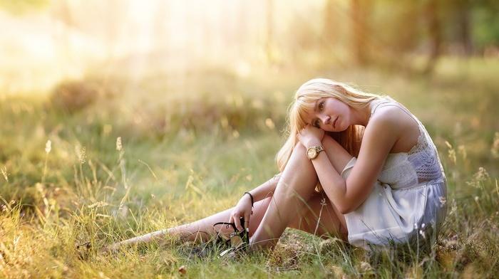 model, field, nature, blonde, girl outdoors, girl