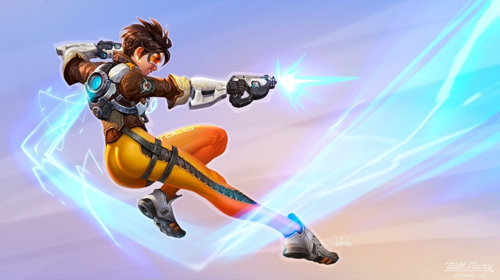 dark hair, science fiction, shooting, legs, Tracer Overwatch, weapon, short hair, suits, Overwatch, Lena Oxton, simple background, Blizzard Entertainment